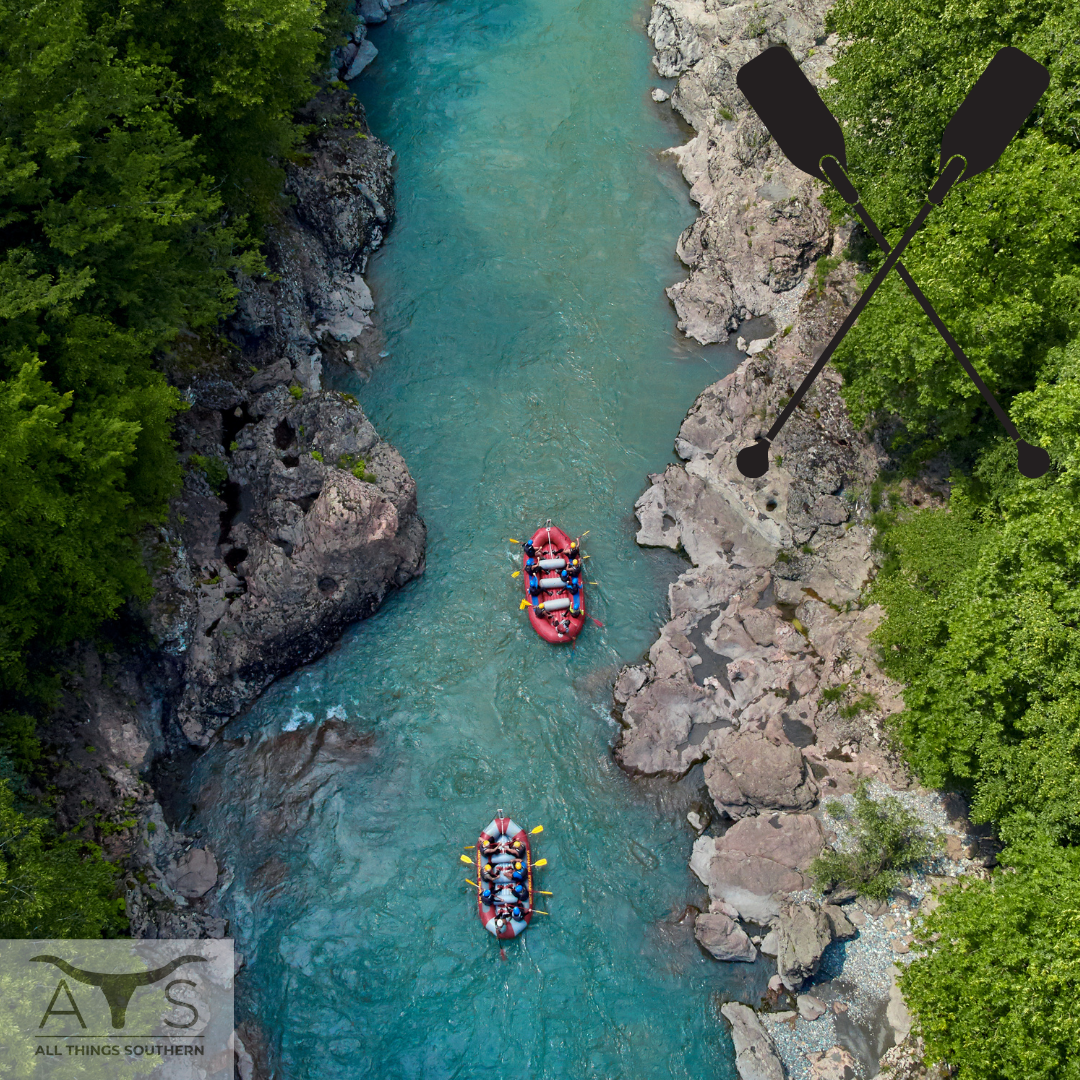 River Rafting with Paddle Oars and the ATS logo